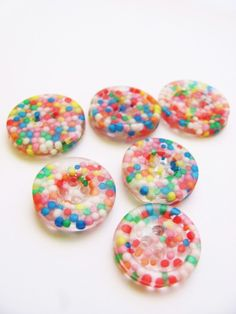Resin candy sprinkle buttons