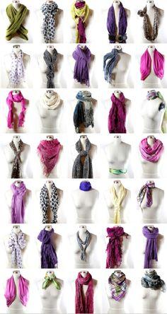 35 jeitos diferentes para amarrar seus lenços e echarpes.