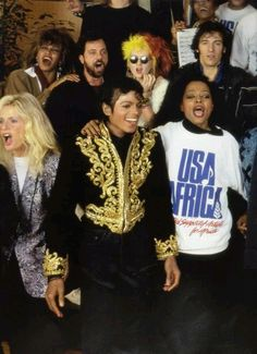 "Michael Jackson getting all the celebrities together to perform ""we are the world"""