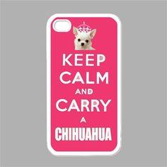 CHIHUAHUA iPhone Case Keep Calm iPhone 4 Case iPhone 4s Case Keep Calm and Carry a Chihuahua Pink Cover