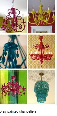 Painted Chandelier On Pinterest Spray