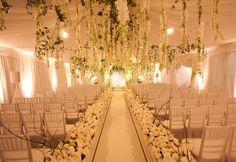 wedding ceremonies, idea, winter wonderland theme, tent wedding, hanging flowers