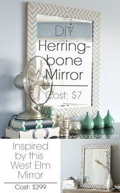 DIY West Elm-Inspired Herringbone Mirror | tealandlime.com