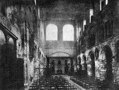 The magnificent Norman church of St Bartholomew's Smithfield before its restoration in 1886 by Aston Web