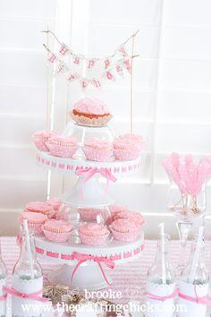 dessert tables, birthday parti, cupcake stands, cake desserts, pink cupcakes, parti idea, baby showers, birthday ideas, pink parties