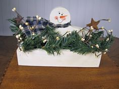 Winter White Wooden Snowman Box with Greenery by TheCountryTouch