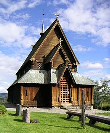 """Reinli Stavkirke... The """"Stavkirke,"""" or ancient wooden churches of Norway, are in their way almost unique among the ecclesiastical buildings of Europe. Their age and carvings are remarkable."""