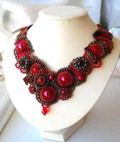 Beaded Art Necklace and Earrings Beadwork necklace por ibics, $172.00