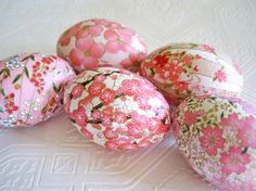 Easter Eggs Pink Easter Eggs Decoupage Eggs by CatnipStudioToo - These eggs are for sale, but decoupage is not all that difficult. Some decoupage medium, beautiful spring/Easter thin paper (I like tissue) and plastic eggs, or you can blow your own eggs out. Anyway, that is where I am going to start and see what I come up with. It is a neat idea tho.