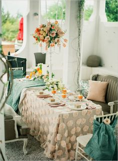 teal, citrus, and blush table table settings, polka dots, color schemes, color combos, wedding ideas, hanging flowers, table linens, parisian party, parisian wedding