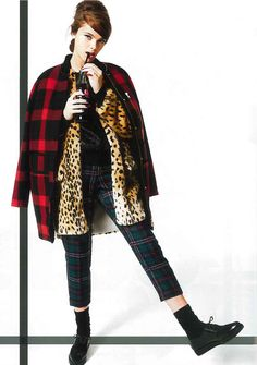 #MMissoni   Red & Black Checkered Coat   #Glamour Uk   October 2013
