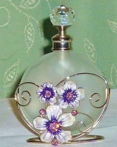 White Satin Glass Dressing Table Scent Bottle in Enamelled Silvertone Stand | eBay