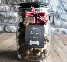 Christmas Gifts in a Jar - Give the Dog a Bone - Click pic for 25 DIY Christmas Gifts homemade christmas gifts, diy gift christmas, dog gifts, christma gift, bone, diy christmas gifts, christmas gifts in a jar, gift idea, christmas in a jar gifts