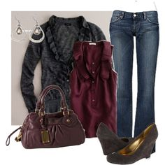 Cranberry, plum and charcoal...beautiful color combo. Love wedges too!