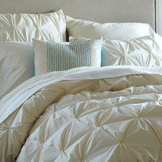 Organic Cotton Pintuck Duvet Cover + Shams - Natural   west elm