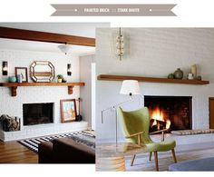 Painted Brick: Four Trends to Consider. We're planning to paint our fireplace later this year and I can't decide. I'm leaning toward whitewash, but it might just be an intermediate step toward stark white.