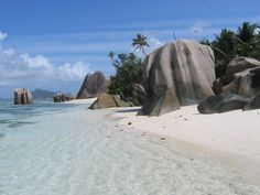 yes this is a real beach, Anse Lazio in the Seychelles off the coast of Africa, Indian Ocean
