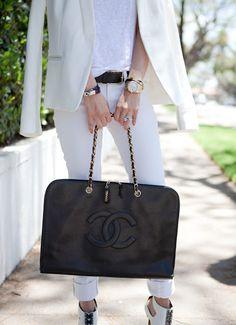 Black Caviar Jumbo Laptop Bag / by Chanel