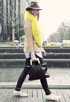 casual layers topped sans neon fur! color, outfit, street styles, fur, leather pants, leather leggings, winter chic, hat, neon yellow