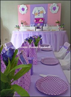 Backdrop and table at a  Doc Mcstuffin Birthday Party!  See more party ideas at CatchMyParty.com!