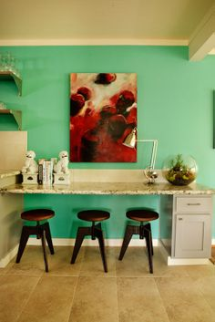 turquoise and bright art bright art, interior design, beaches, contemporary kitchens, color, hous, benjamin moore, beach styles, portland oregon