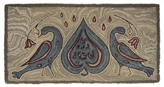 American hooked rug, early 20th c., with two doves flanking a spade, 18.5 x 35.5  I thinking front panel and lid of a blanket chest.