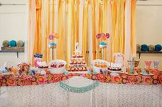 Colorful wedding reception dessert table decor!
