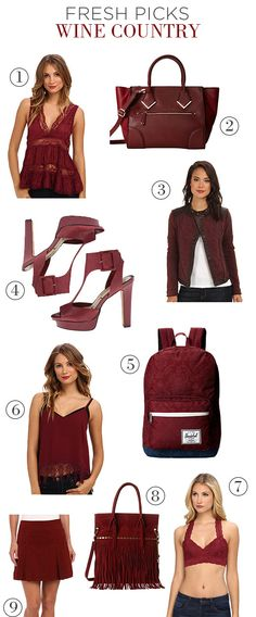 Fresh Picks: Wine Country. One of the many things we look forward to in the fall is a rich, saturated color palette, particularly in shades inspired by wine. You don't need to be a sommelier to appreciate this abundantly flattering hue of red! #aldo #bordeaux #burgundy #trends #fall #freepeople #gabriellarocha #Herschel #jessicasimpson #luckybrand #merlot #wine #Zappos #ShopTheSeam