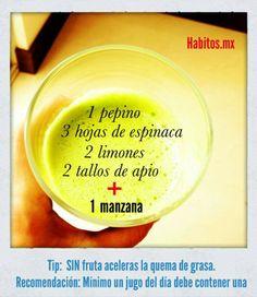 Jugo verde: pepino, espinacas, limones, apio y manzana