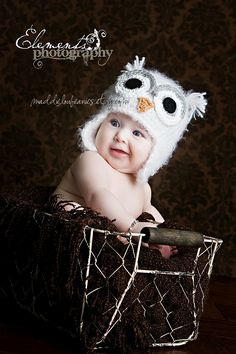Owl hat newborn baby white owl hat beanie with earflaps. $37.00, via Etsy.