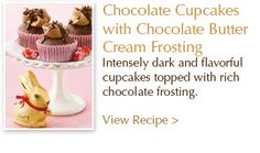 Recipe from Lindt Chocolate:  Chocolate Cupcakes with Chocolate Butter Cream Frosting