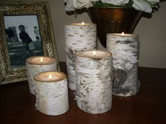 5 Birch wedding Candle holders tea lights set by miwoodcrafts, $15.99