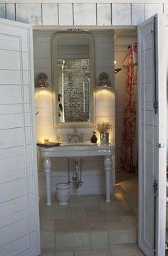Cottage bathroom, mirror, sconces...