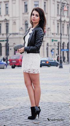 #SheInside White Round Neck Lace Embroidery Dress - Sheinside.com