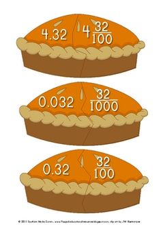 Here's a series of pumpkin pie puzzles for matching equivalent decimals and fractions.