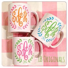 Happy monogram mugs