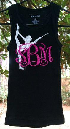Glitter Monogrammed Shirt Girls Tank top by PoshPrincessBows1, $19.99