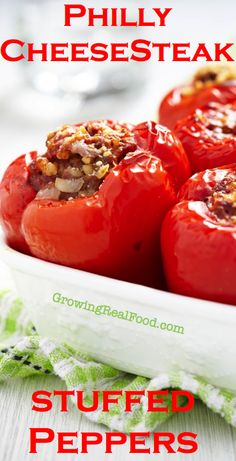 Philly Cheesesteak Stuffed Peppers | GrowingRealFood.com #glutenfree
