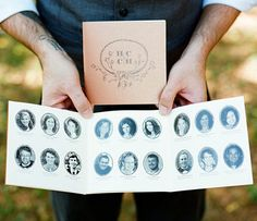 a great idea for wedding programs, pictures of the party