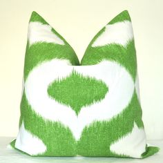 Pillow Cover - Ikat Print  - Green - White - 22x22 inches - Throw Pillow - Toss Pillow - Sofa Pillow - Accent Pillow. $49.00, via Etsy.