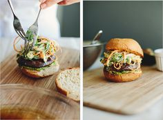 mushroom burgers with asian slaw sprout kitchen, portobello, mushroom burger, coleslaw, asian slaw, burgers, recip, healthy foods, mushrooms