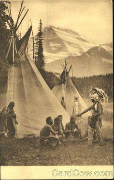 blackfeet indian | Blackfeet Indian Camp Many Glacier Region Native Americana