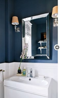Style at Home - bathrooms - navy and white bathroom, navy blue and white bathroom, two tone walls, two tone wall color, navy blue walls, nav...