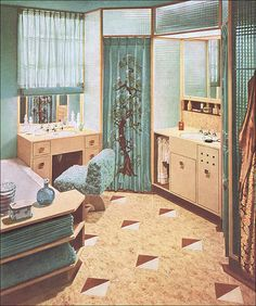1945 Ecru & Turquoise Bath by Armstrong