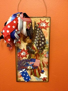 """""""Free Shipping""""  ...Vintage inspired Hand embellished  Patriotic 4th of July Sign by HaileyHarrison on Etsy ... $19.99"""