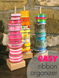 "That's My Letter: ""R"" is for Ribbon Organizer, easy diy ribbon display holders"
