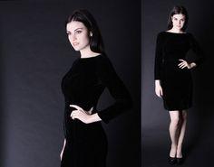 Little Black Dress   Black Velvet Dress   1960s Black by aiseirigh, $128.00