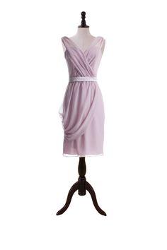 Draped V-Neck Dress with Swag Skirt Detail
