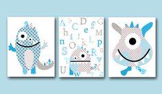 Monster Nursery Alphabet Nursery Kids wall art print nursery room decor