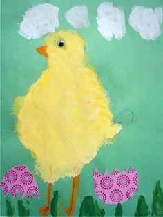 Fluffy Chicks - Sponge painting